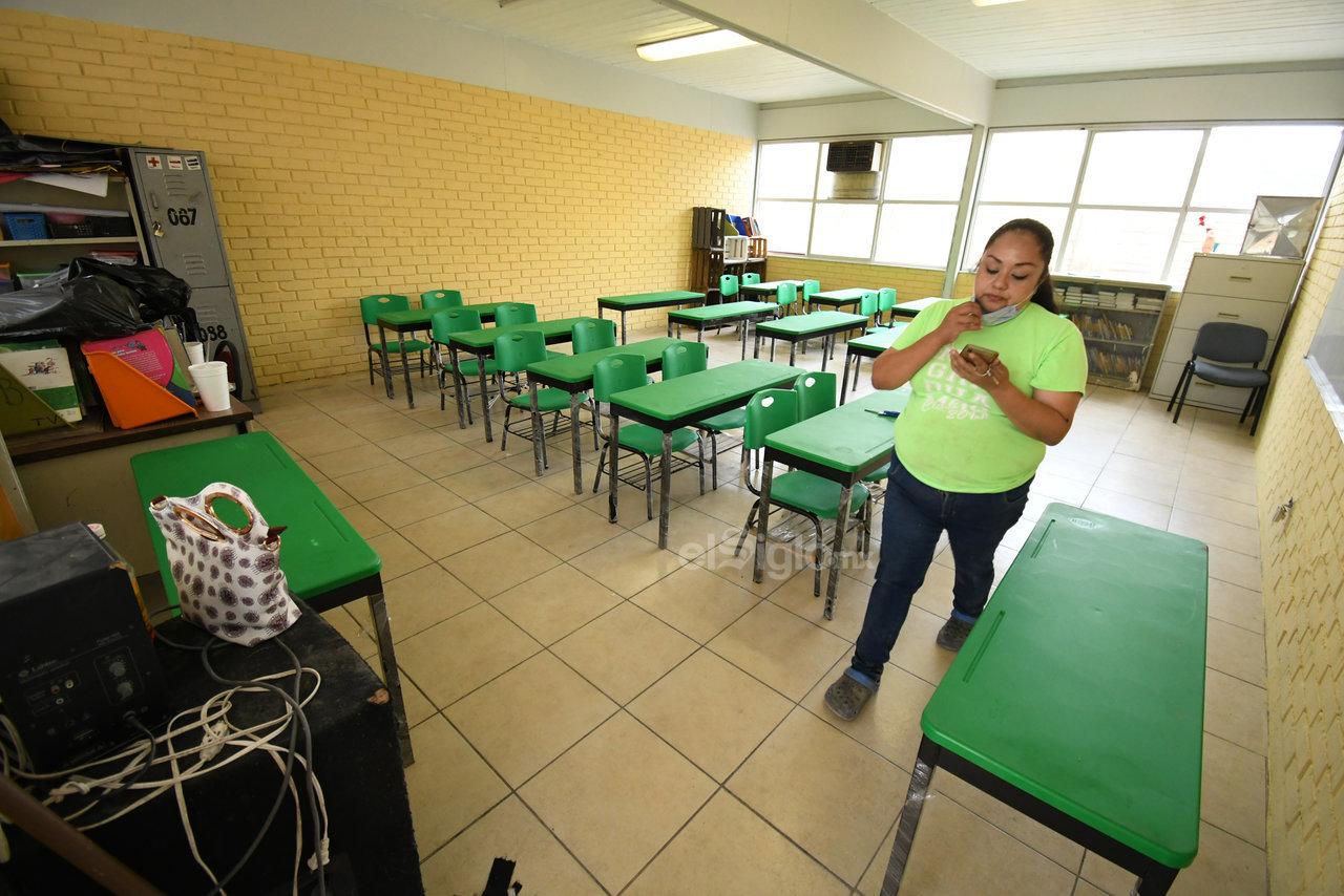 Regreso a las aulas. La escuela primaria Francisco Sarabia es una de las seis que regresarán hoy a actividades en Torreón luego de más de un año de no impartir clases de manera presencial debido a la pandemia del COVID-19.
