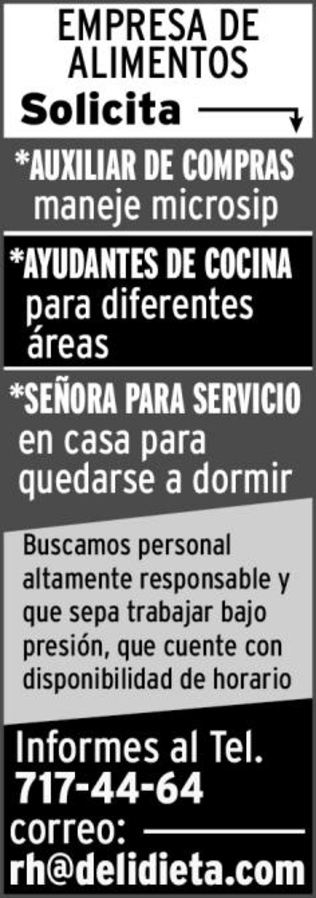 EMPLEO: EMPRESA DE ALIMENTOS SOLICITA - Torreón desplegados El Siglo