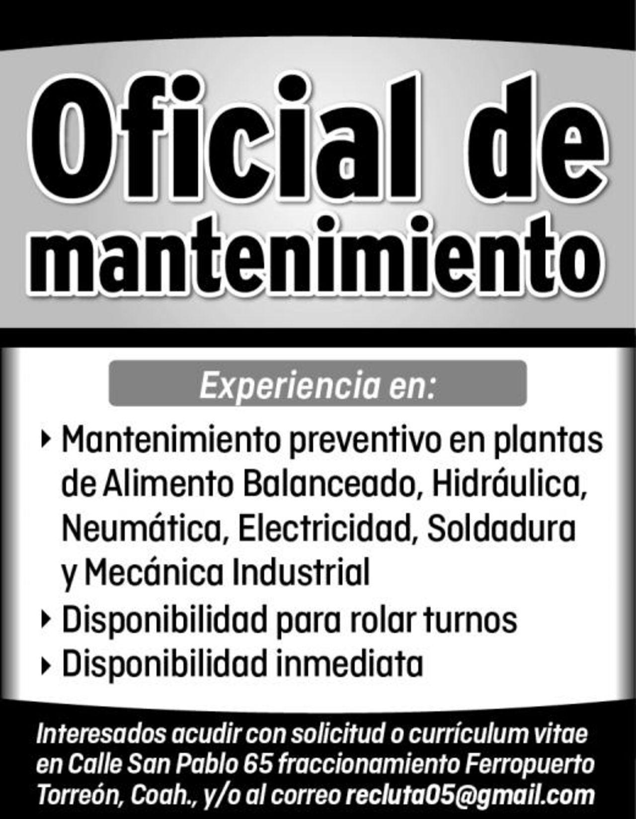 OFICIAL DE MANTENIMIENTO - Torreón desplegados El Siglo