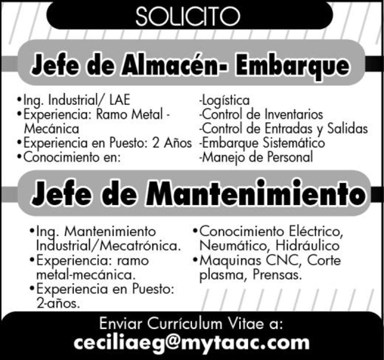 EMPLEO: JEFE DE MANTENIMIENTO/ ALMACEN EMBARQUE - Torreón ...