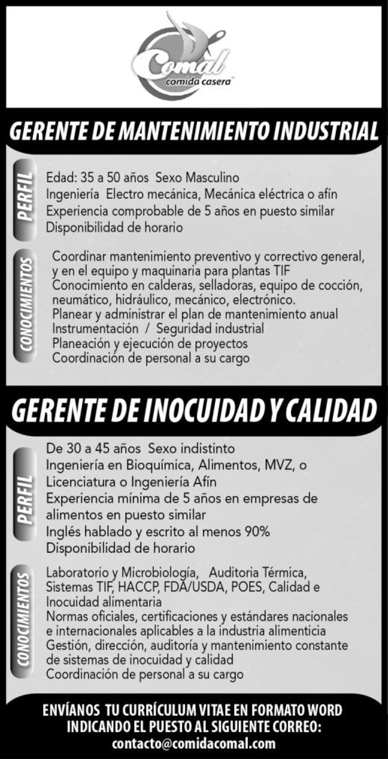 EMPLEOS: GERENTE DE MANTENIMIENTO INDUSTRIAL / GERENTE DE INOCUIDAD ...
