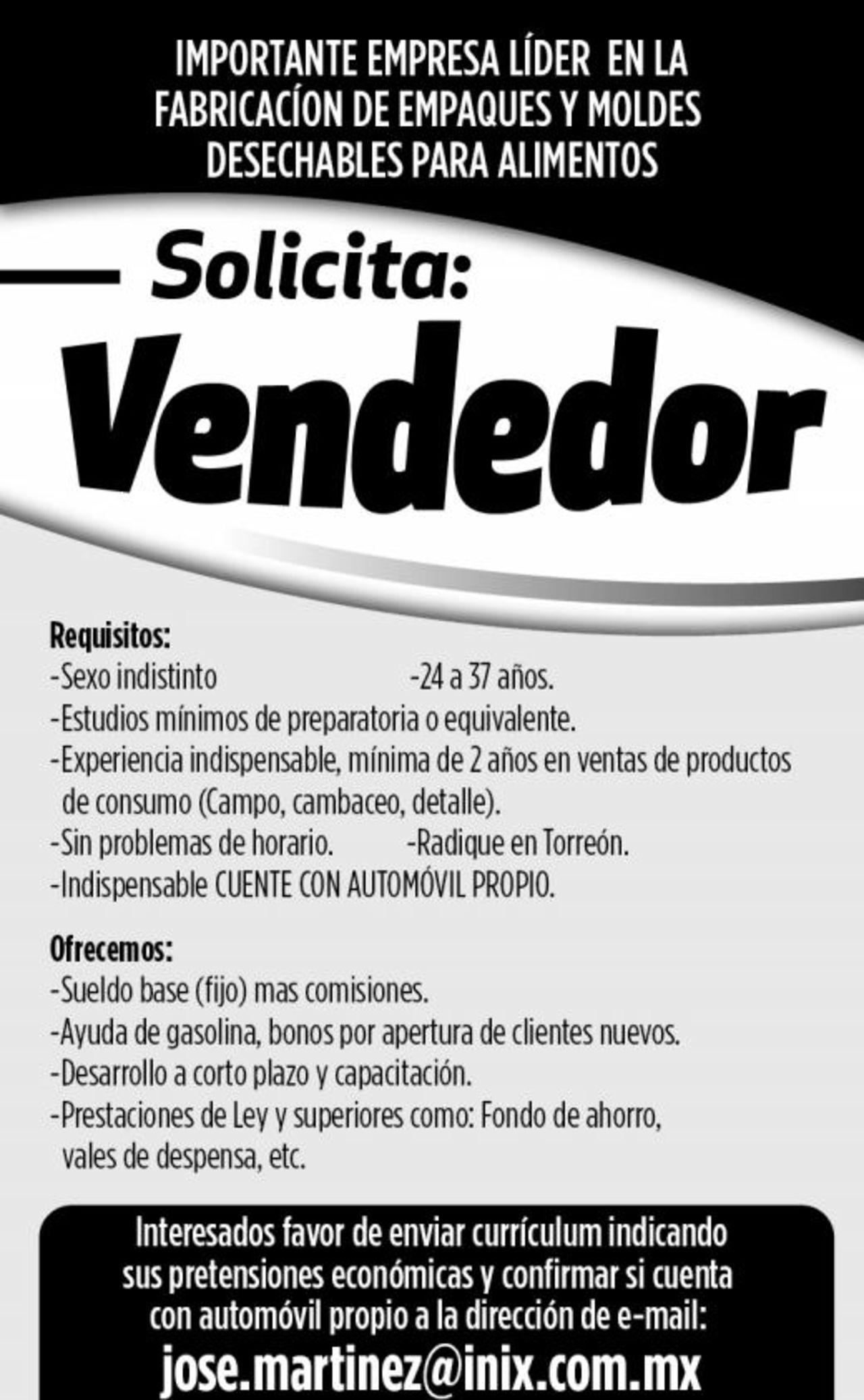 EMPLEO: SOLICITO VENDEDOR - Torreón desplegados El Siglo