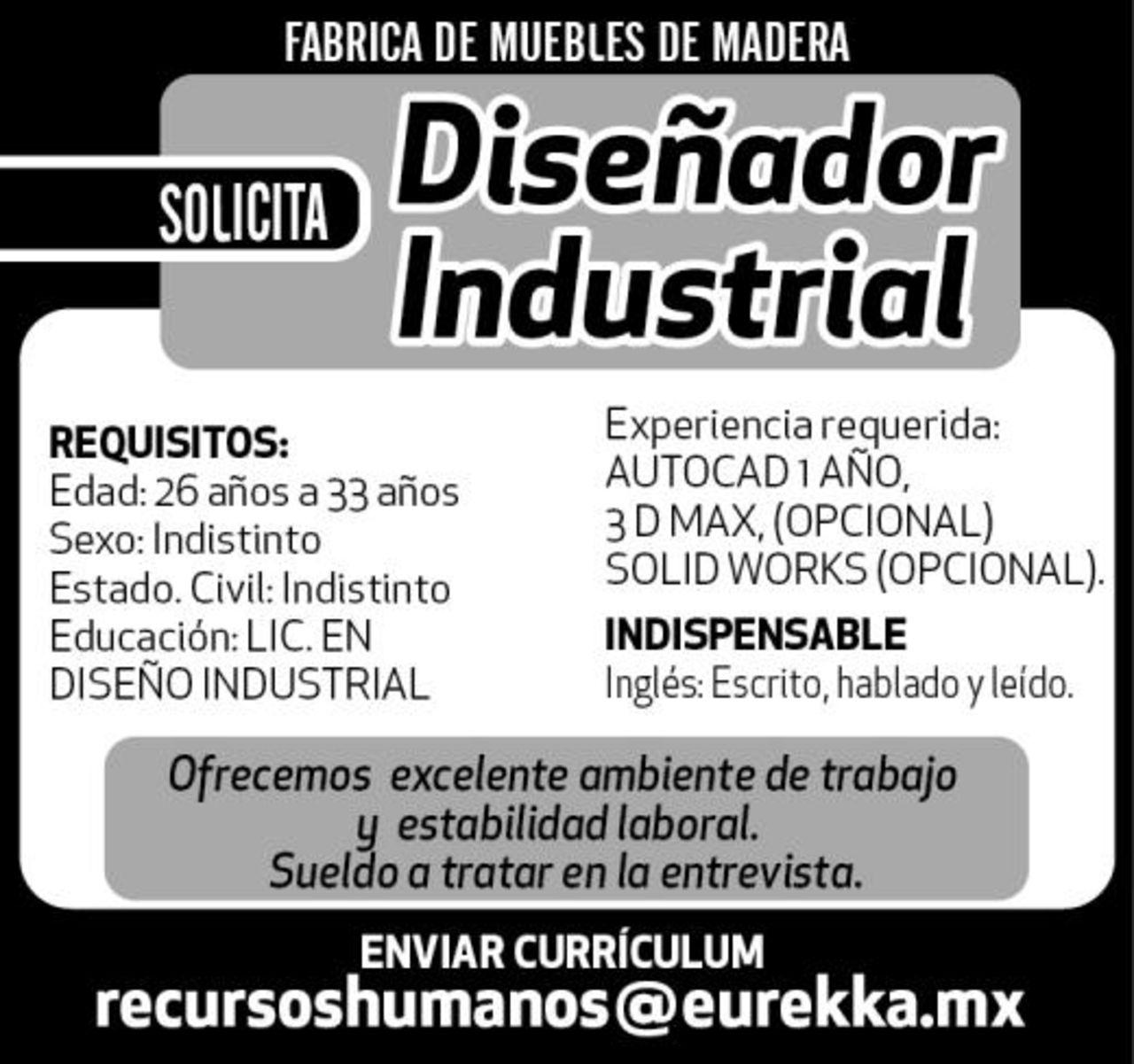 DISEÑADOR INDUSTRIAL - Torreón desplegados El Siglo
