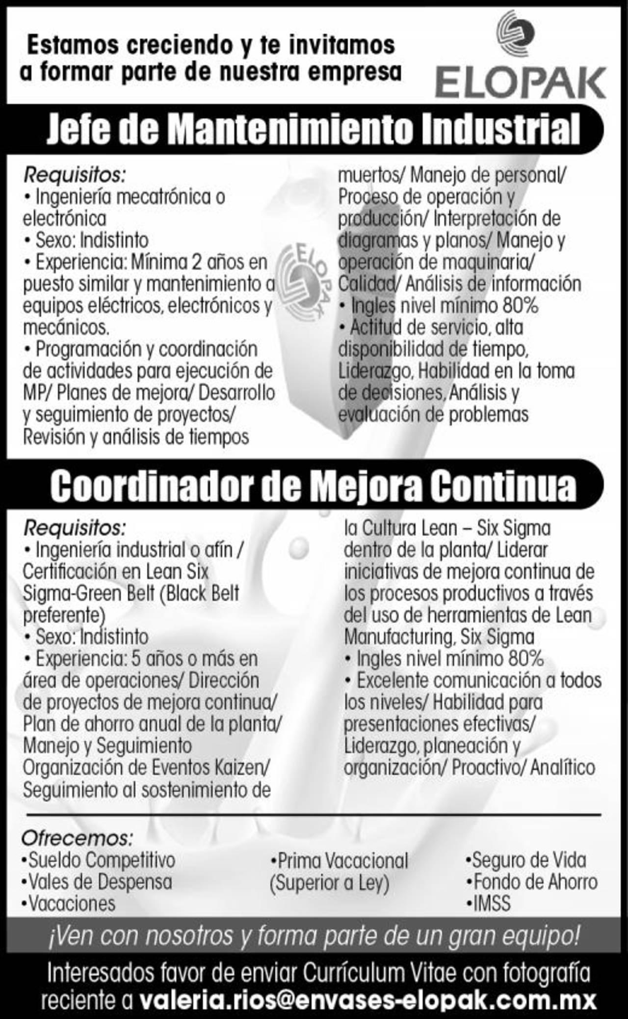 EMPLEO: ELOPAK SOLICITA - Torreón desplegados El Siglo