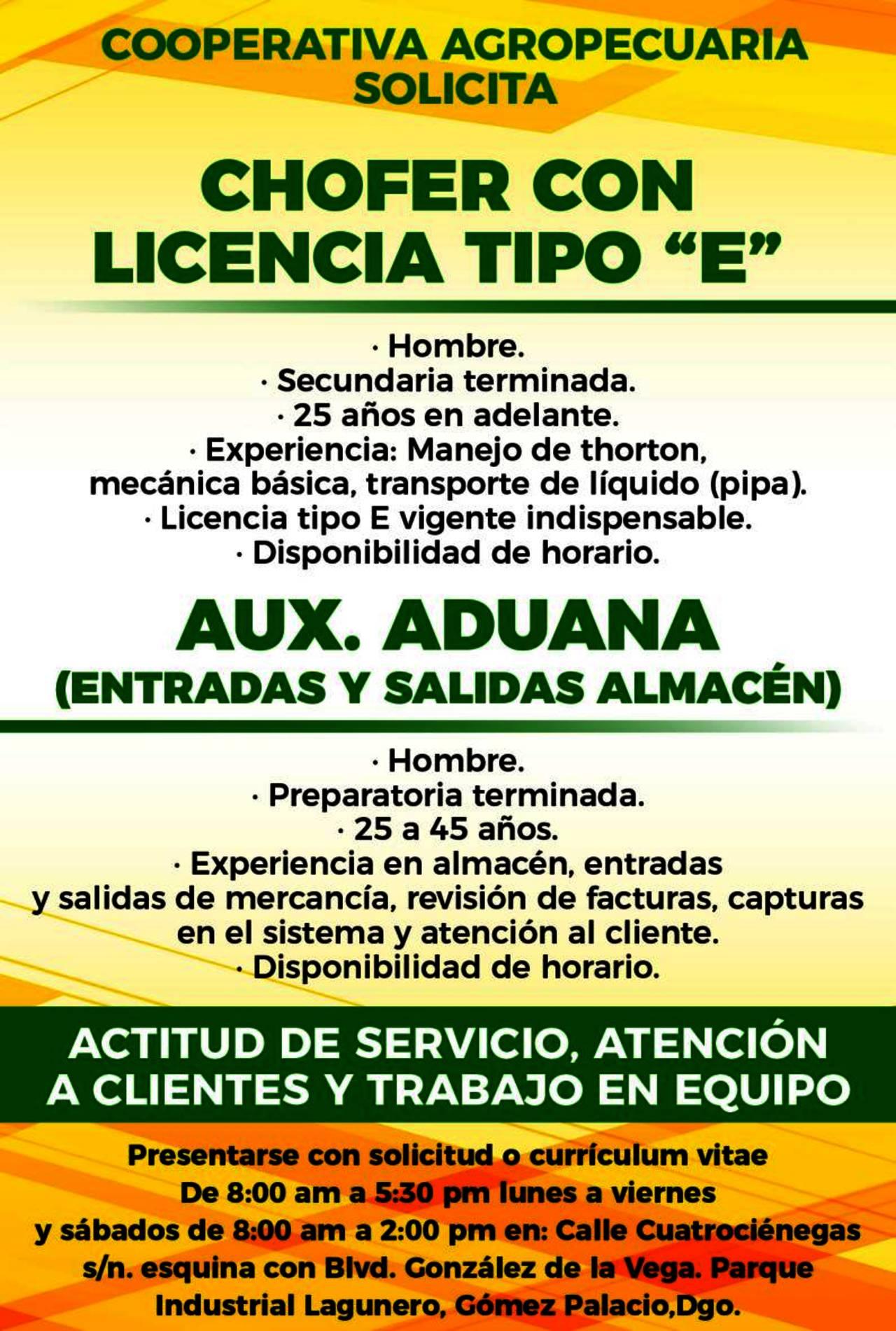 EMPLEO: COOPERATIVA AGROPECUARIA - Torreón desplegados El Siglo