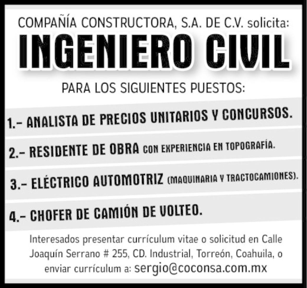 SOLICITO: INGENIERO CIVIL - Torreón desplegados El Siglo
