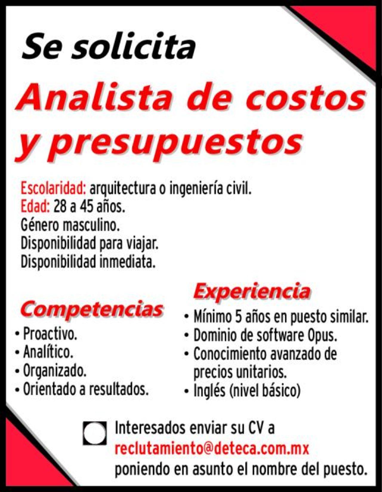 EMPLEO: Analista de costos y presupuestos - Torreón desplegados El ...