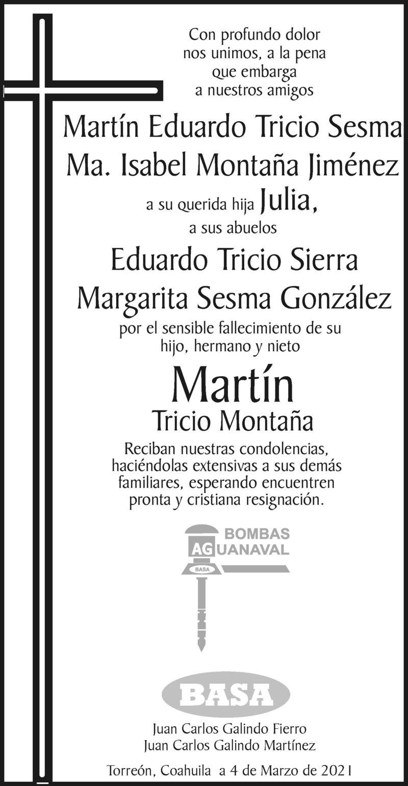 CONDOLENCIA: MARTÍN TRICIO MONTAÑA. Bombas Aguanaval expresa su más sentido pésame a la Familia Tricio Montaña y Tricio Sesma por el sensible fallecimiento de su hijo y nieto Martín Tricio Montaña. Descanse en paz.