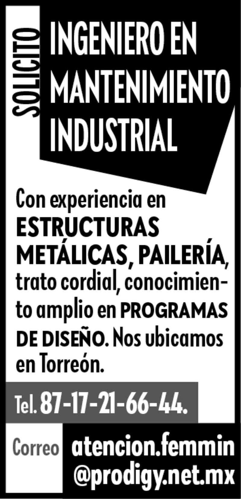 SE solicita Ingeniero en Mantenimiento Industrial