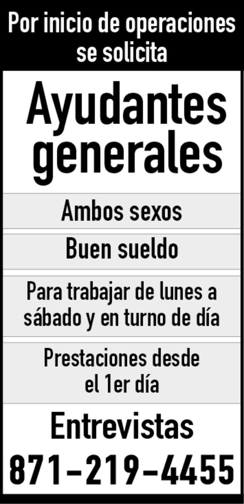 SE SOLCITA AYUDANTES GENERALES