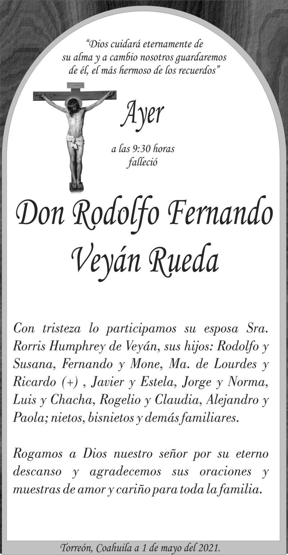 ESQUELA: DON RODOLFO FERNANDO VEYÁN RUEDA. Ayer a las 9:30 hrs. Falleció Don Rodolfo Fernando Veyán Rueda. Descanse en paz.