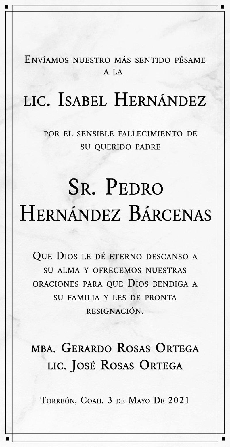 CONDOLENCIA: SR. PEDRO HERNÁNDEZ BÁRCENAS. Amigos de la Lic. Isabel Hernández le expresan su más sentido pésame por el fallecimiento de su padre, el Sr. Pedro Hernández Bárcenas. Descanse en paz.