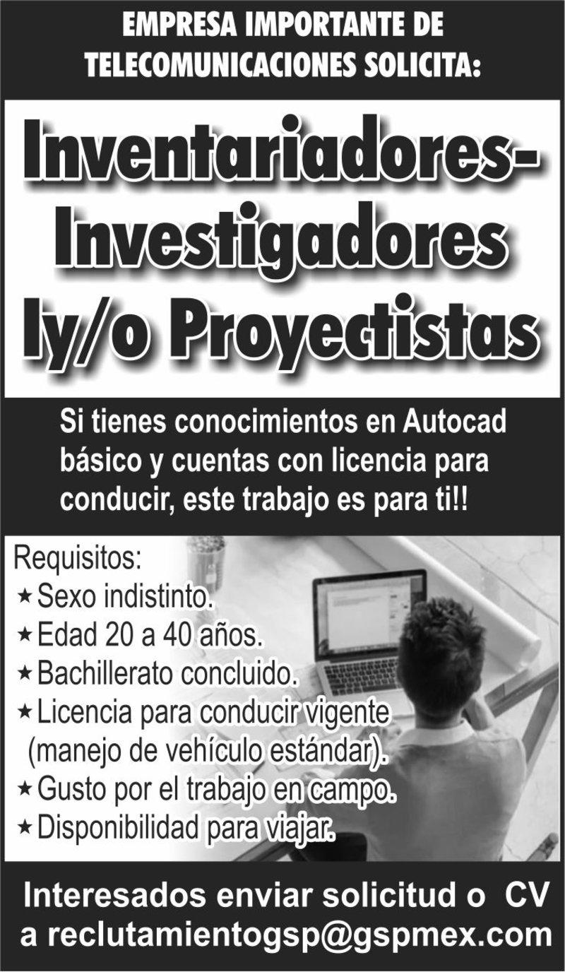 INVENTARIADORES - INVESTIGADORES