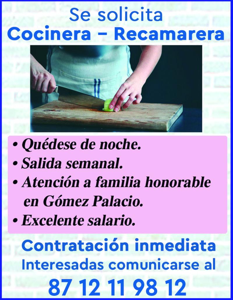 SE SOLICITA COCINERA Y RECAMARERA