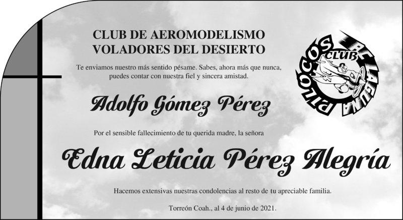 CONDOLENCIA: EDNA LETICIA PÉREZ ALEGRÍA. Club de aeromodelismo voladores del desierto, lamentan la pérdida de Edna Leticia Pérez Alegría. Descanse en paz.