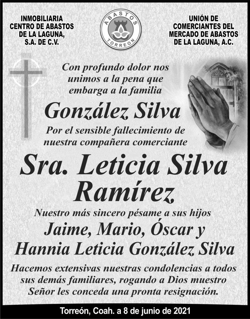 CONDOLENCIA: SRA. LETICIA SILVA RAMÍREZ. Inmobiliaria y unión de comerciantes de Abastos Torreón, lamentan el sensible fallecimiento de la Sra. Leticia Silva Ramírez. Descanse en paz.