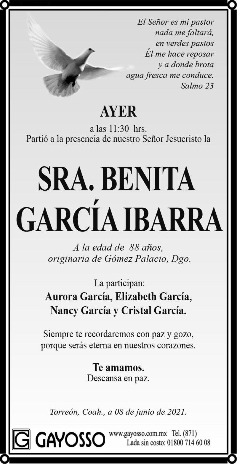 ESQUELA: SRA. BENITA GARCÍA IBARRA. Ayer a las 11:30 hrs. Falleció la Sra. Benita García Ibarra, a la edad de 88 años. Descanse en paz.
