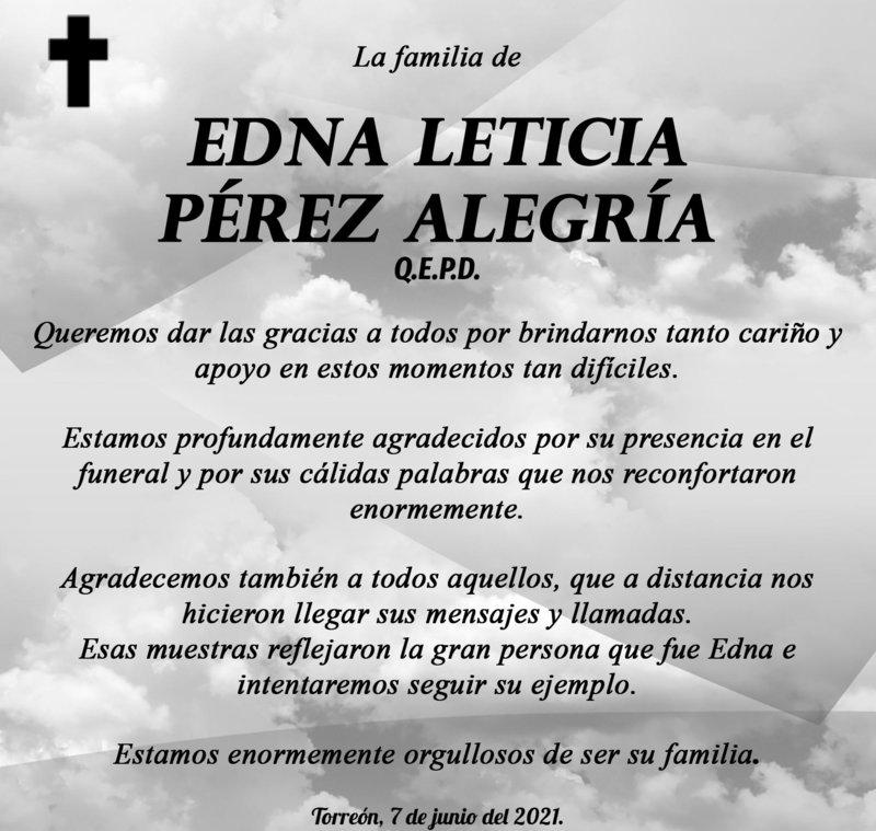 Agradecimiento EDNA LETICIA PÉREZ ALEGRÍA