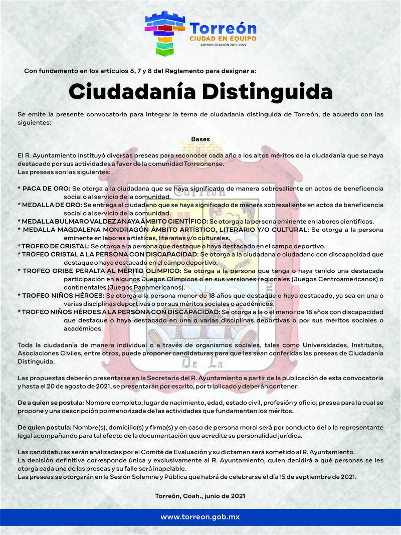 T/C CONVOCATORIA CIUDADANÍA DISTINGUIDA