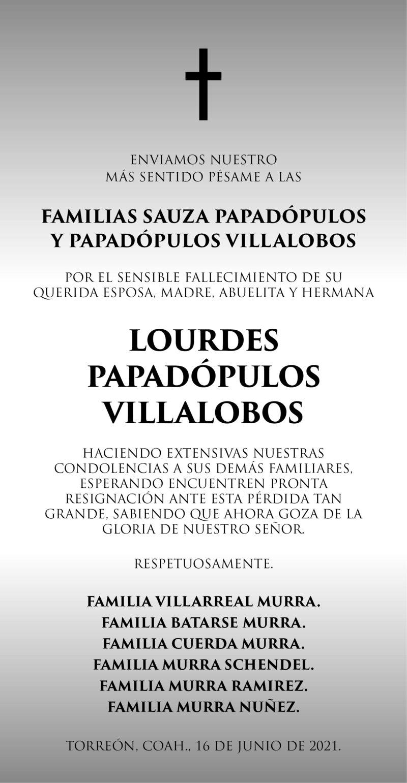 CONDOLENCIA: LOURDES PAPADÓPULOS VILLALOBOS. Familias lamentan la pérdida de Lourdes Papadópulos Villalobos. Descanse en paz.