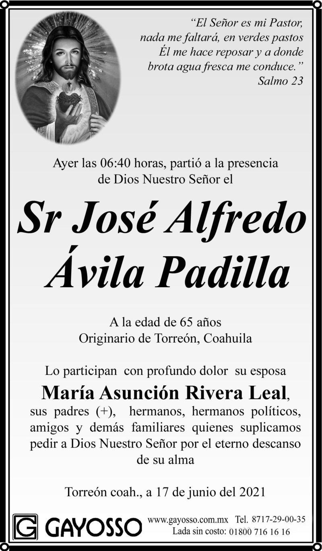 CONDOLENCIA: SR. JOSÉ JOSÉ ALFREDO ÁVILA PADILLA. Ayer a las 6:40 hrs. Falleció el Sr. José José Alfredo Ávila Padilla. Eterno descanso de su alma.