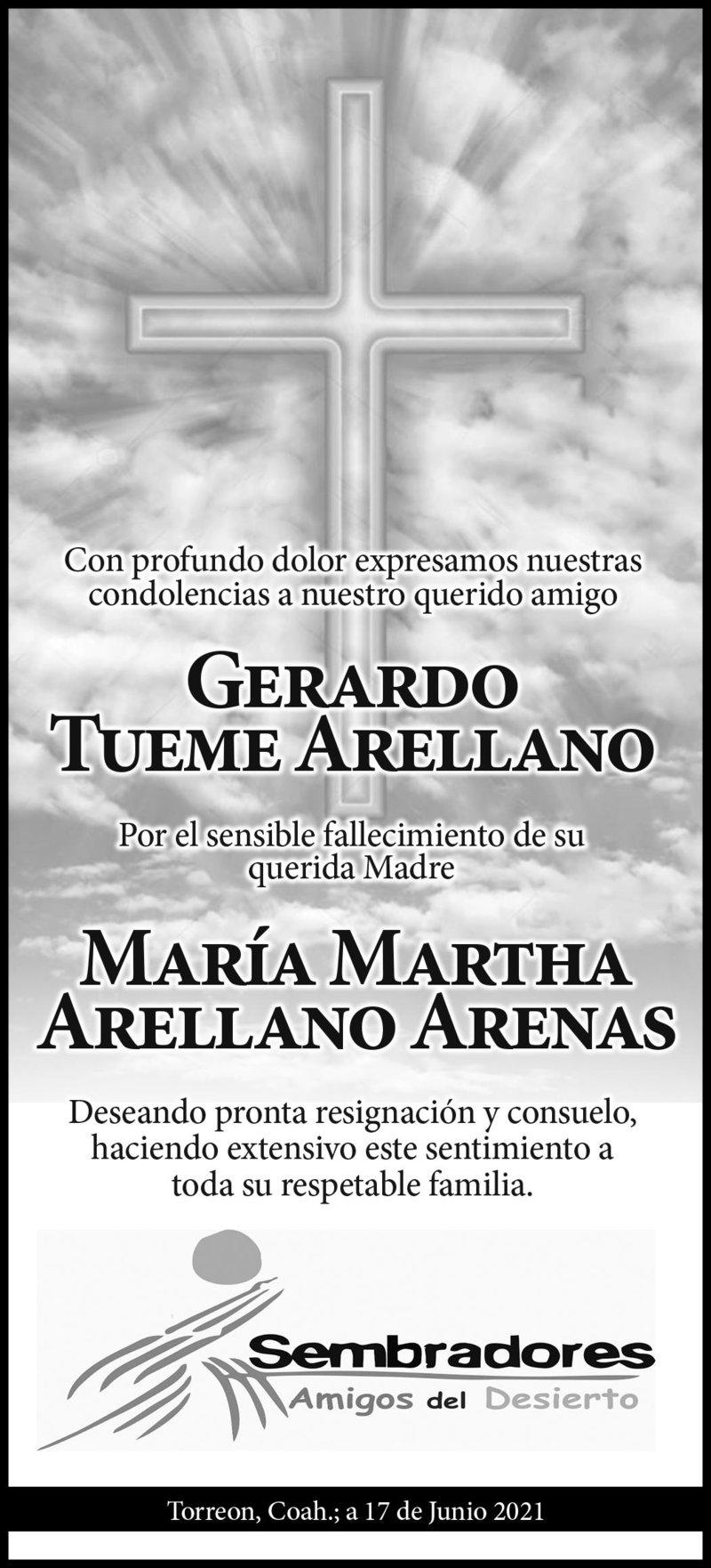 CONDOLENCIA: MARÍA MARTHA ARELLANO ARENAS. Sembradores Amigos del Desierto, lamentan la pérdida de María Martha Arellano, madre de su querido amigo Gerardo Tueme Arellano. Descanse en paz.