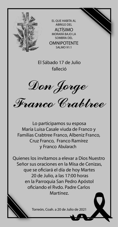 ESQUELA: DON JORGE FRANCO CRABTREE. El 17 de julio falleció Don Jorge Franco Crabtree. La misa de cenizas será hoy 20 de julio en la Parroqia San PEdro Apóstol a las 17 hrs. Descanse en paz.