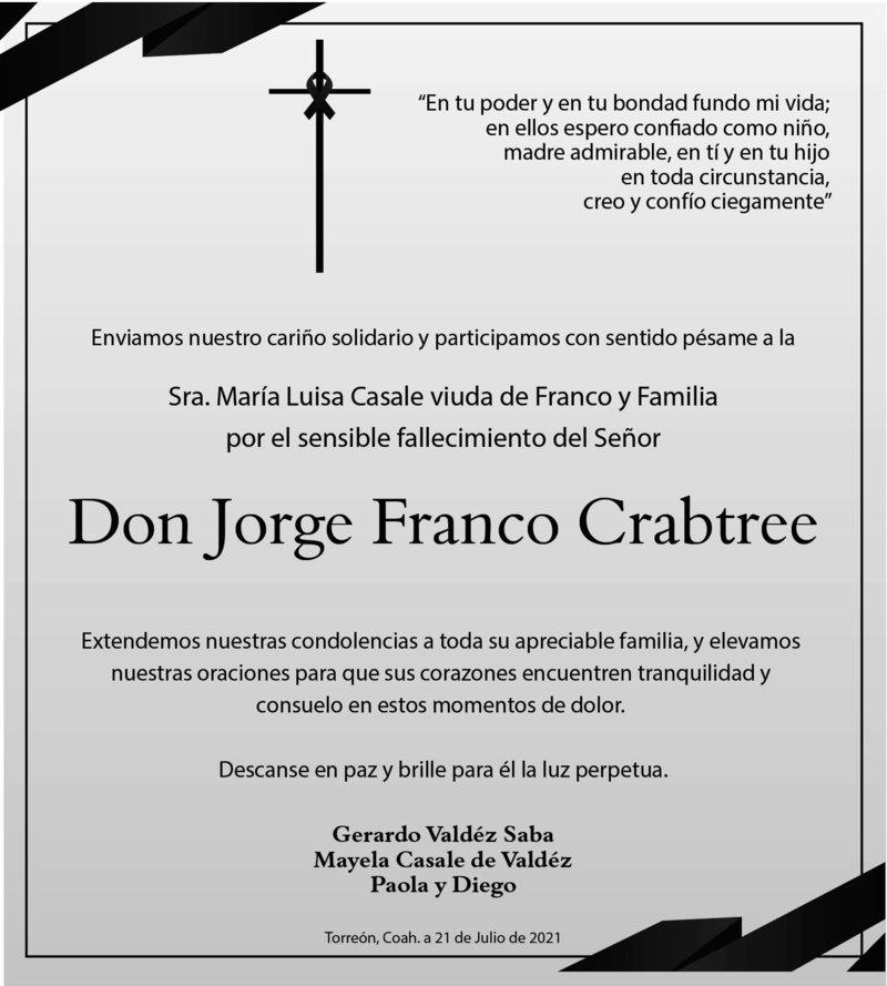 CONDOLENCIA: DON JORGE FRANCO CRABTREE. Amigos de la Sra. María Luisa Casale viuda de Franco y Familia, lamentan el fallecimiento de Don Jorge Franco Crabtree. Descanse en paz.