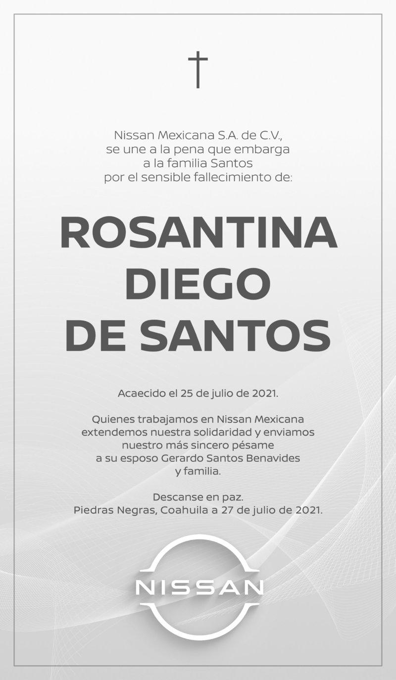 CONDOLENCIA: ROSANTINA DIEGO DE SANTOS. Nissan Mexicana, S.A. de C.V. lamenta el fallecimiento de Rosantina Diego de Santos. Descanse en paz.