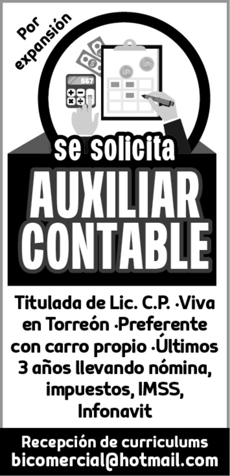 SOLICITAMOS AUXILIAR CONTABLE