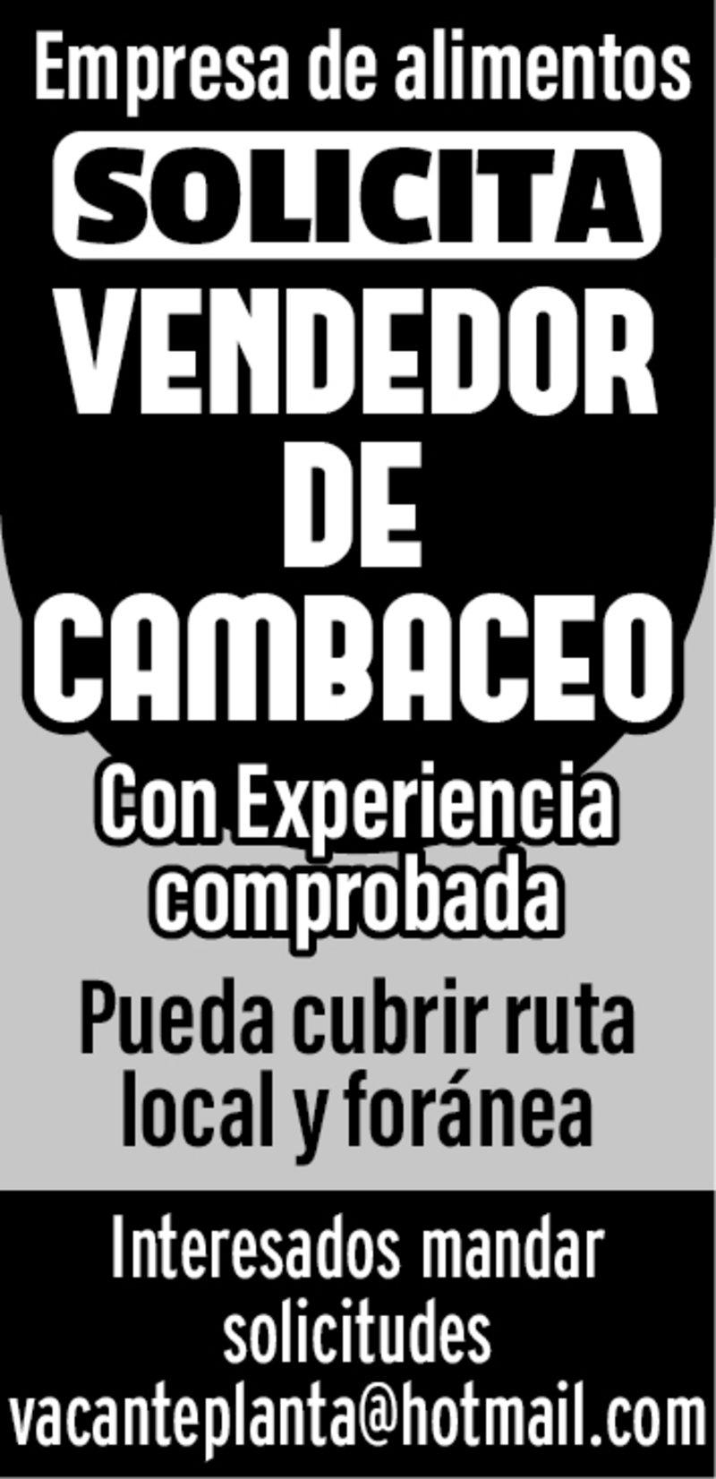 SOLICITAMOS VENDEDOR DE CAMBACEO