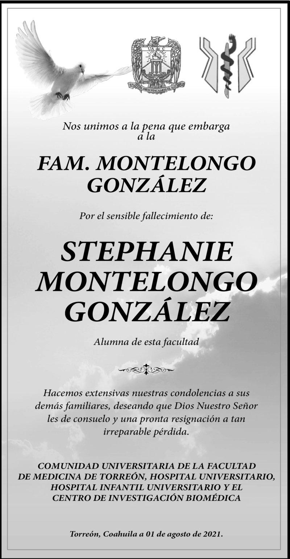 CONDOLENCIA: STEPHANIE MONTELONGO GONZÁLEZ. Comunidad universitaria de la facultad de medicina de Torreon, Hospital Universitario, Hospital Infantil y el Centro de Investigación Biomédica, lamentan la pérdida de Stephanie. Eterno descanso de su alma.
