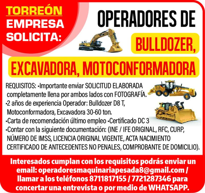 OPERADORES RETRO EXCAVADORA
