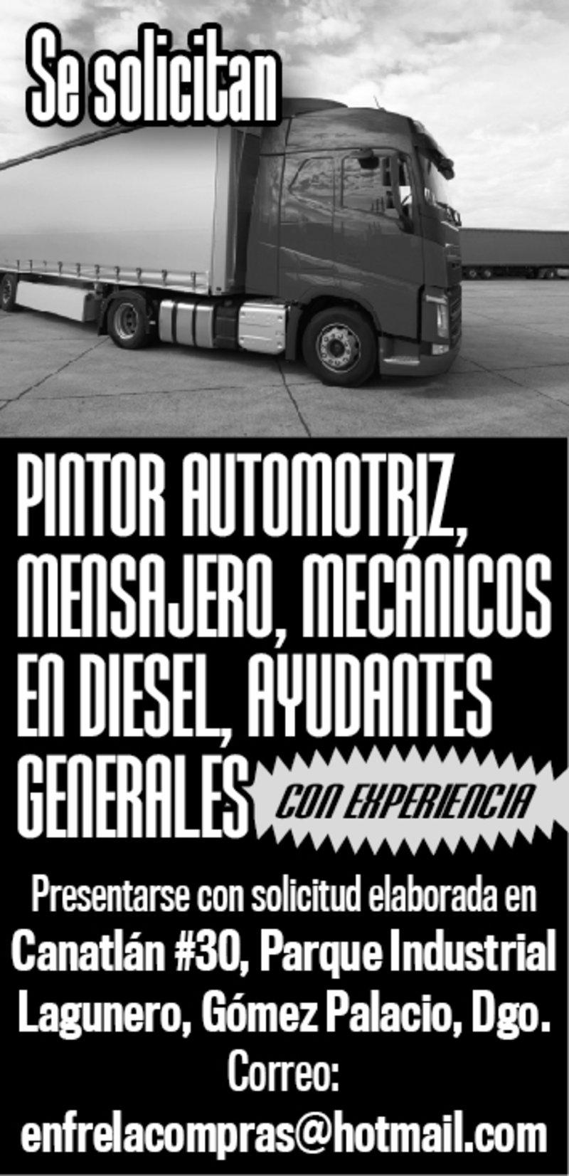 SE SOLICITA PINTOR AUTOMOTRIZ