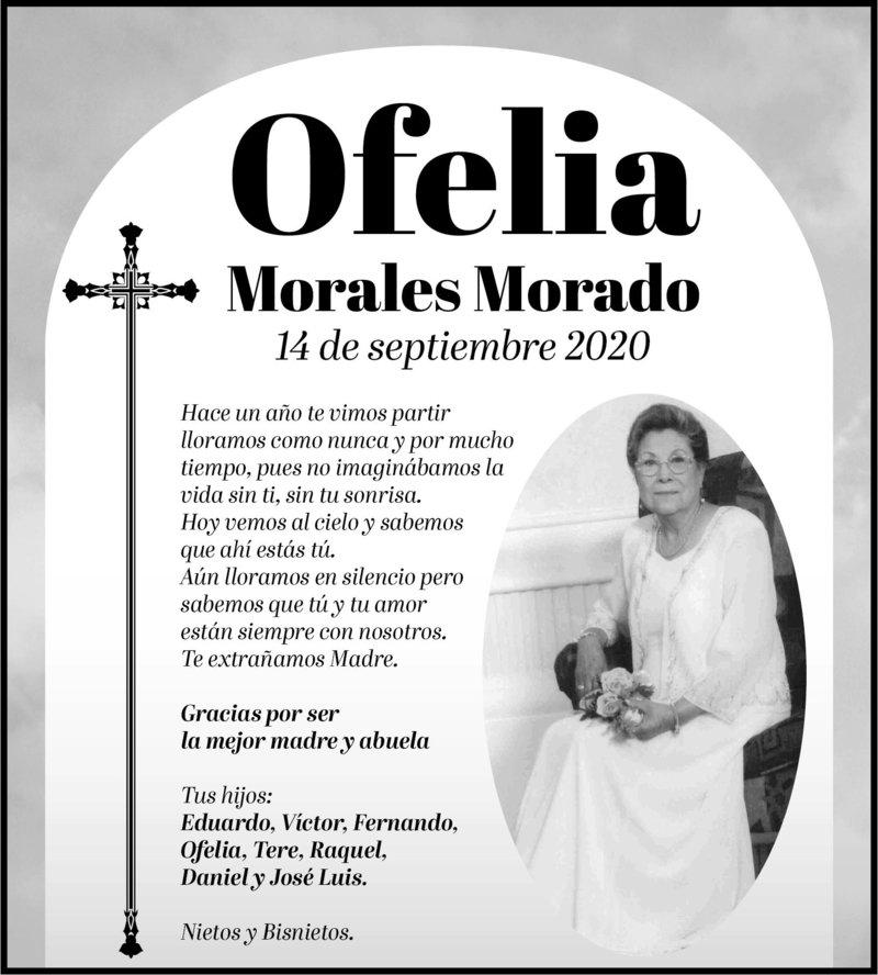 IN MEMORIAM: OFELIA MORALES MORADO. En su primer año luctuoso, sus hijos la recuerdan con gran amor y cariño. Eterno descanso de su alma.
