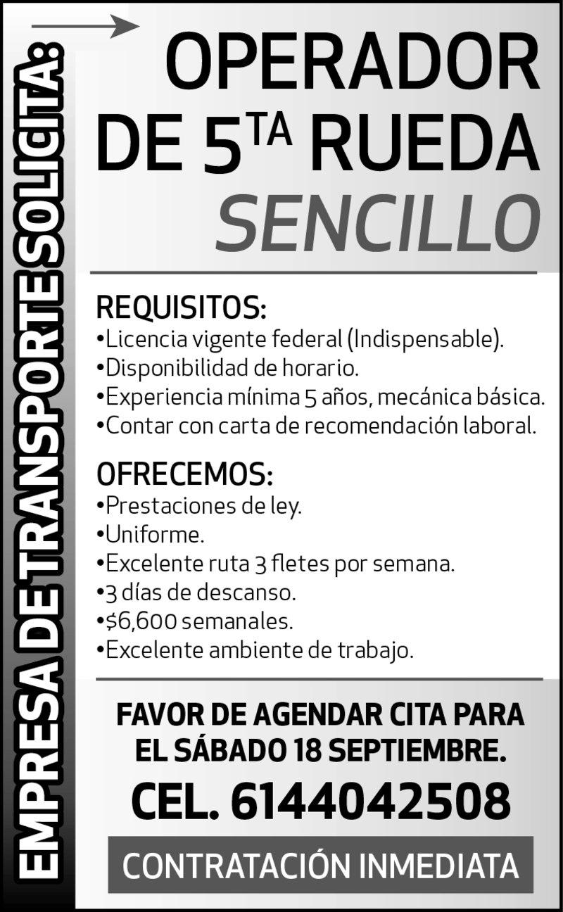 OPERADOR DE 5TA RUEDA  SENCILLO