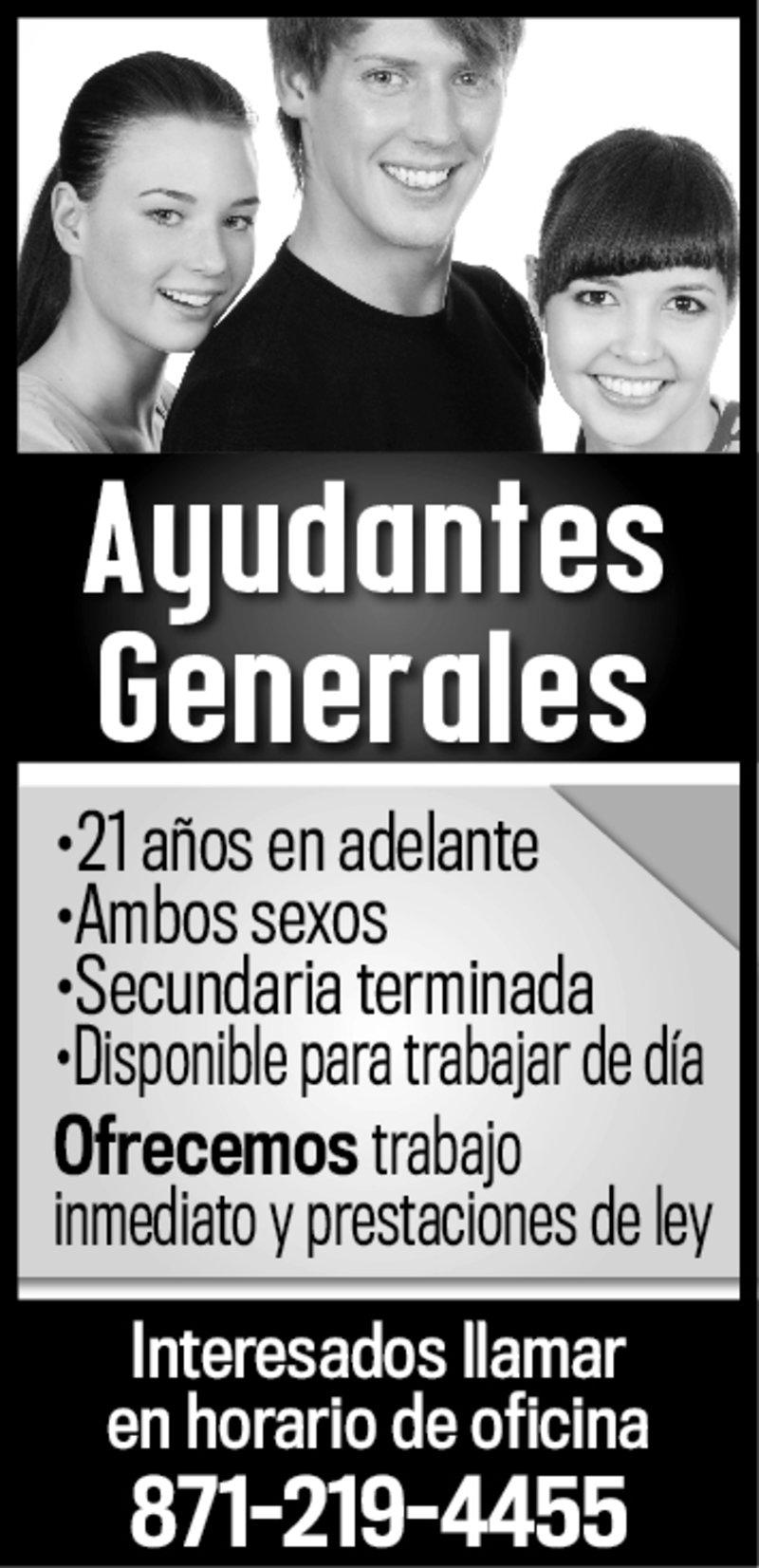 SOLICITO AYUDANTES GENERALES