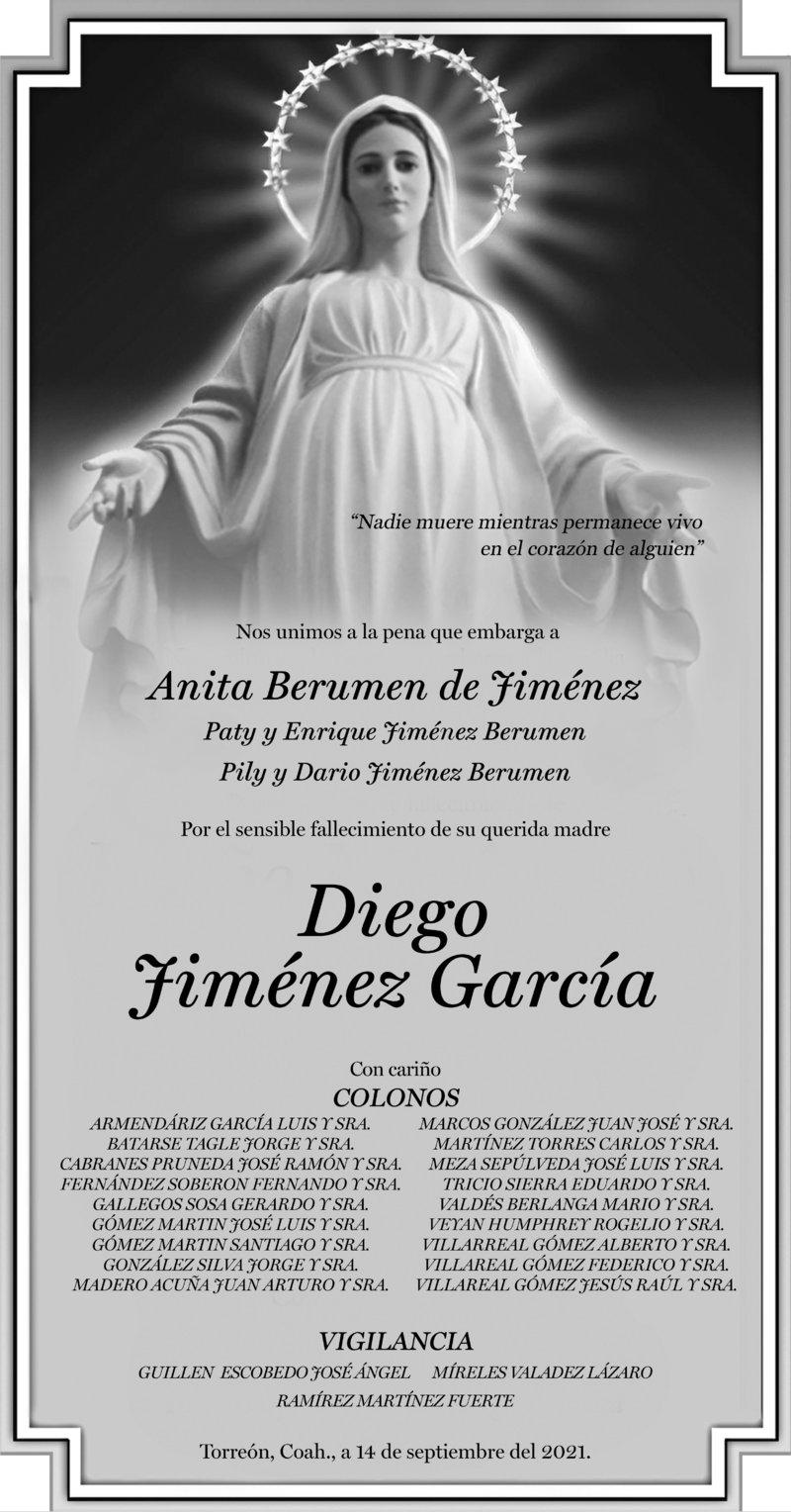 CONDOLENCIA: DIEGO JIMÉNEZ GARCÍA. Colonos y vigilancia, se unen a la pena de la Familia Jiménez Berumen ante esta irreparable pérdida del Sr. Diego. Descanse en paz.