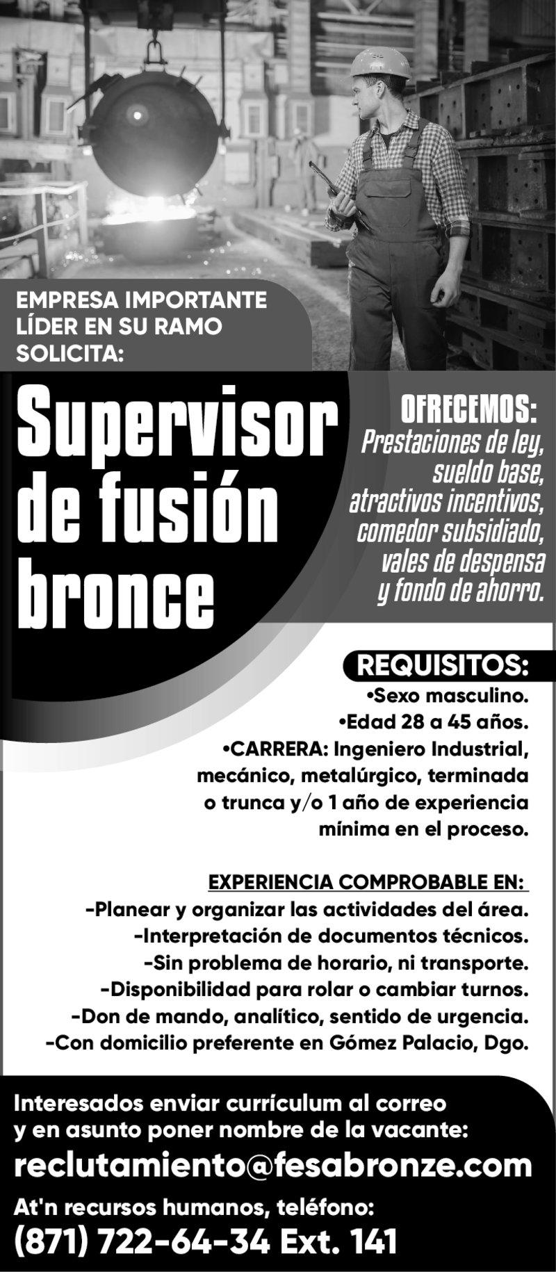 SUPERVISOR DE FUSIÓN BRONCE