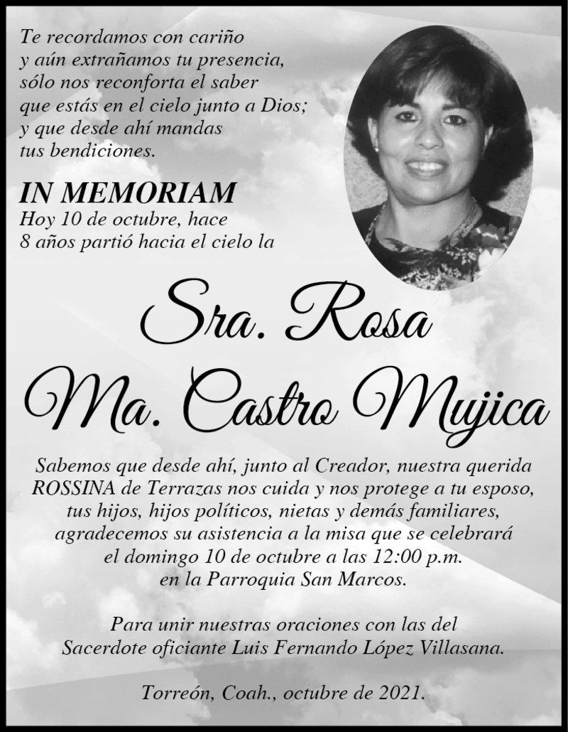 IN MEMORIAM: SRA. ROSA MA. CASTRO MUJICA. Hoy 10 de octubre, hace 8 años falleció la Sra. Rosa. Hoy a las 12 pm en la Parroquia San Marcos, será la misa para unir las oraciones para su eterno descanso.