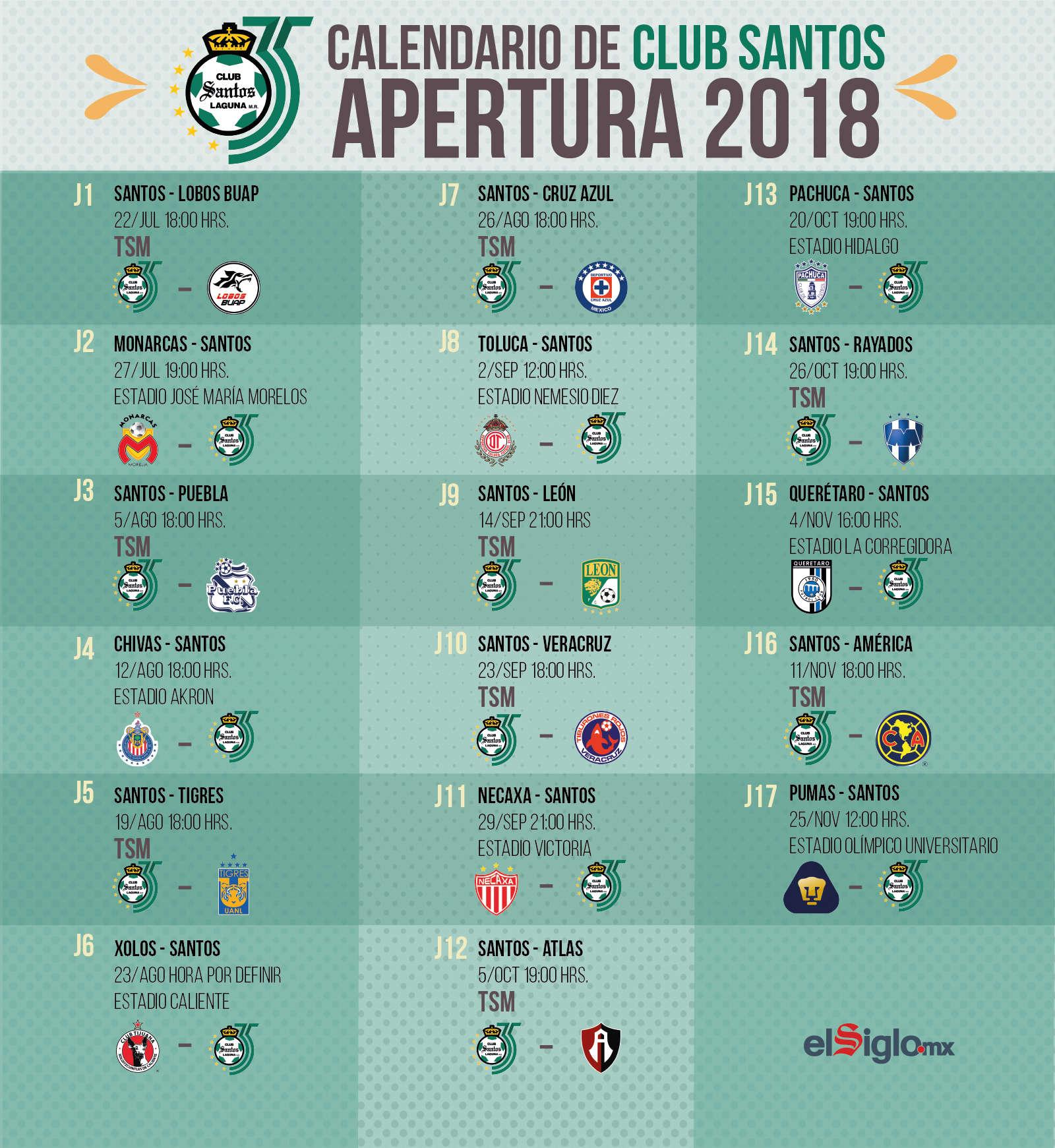 Calendario Santos.Calendario De Santos Para El Apertura 2018 El Siglo De Torreon