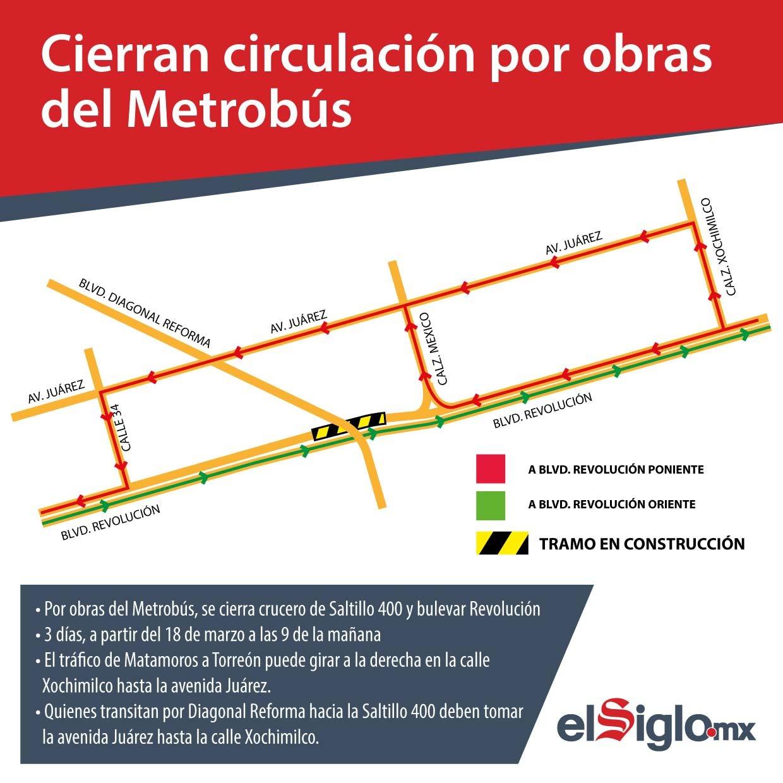 Cierran circulación por obras del Metrobús?