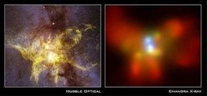 Esta imágen fue tomada por la cámara 2 abordo del  Telescopio espacial Hubble. La imágen cubre la región central de la Galaxia. Los colores de la imágen en rayos X muestran la intensidad baja (color rojo), la media (verde) y la alta (azul) de la luz. Por primera vez  este telescopio  ha revelado claramente dos hoyos negros en el centro de la galaxia, a 400 millones de años  luz, los cuales están viajando uno en contra de otro y en millones de años podrían chocar en  un estallido de energía  y deformar el el tejido espacial, dicen los astrónomos.
