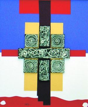 Se trata de un trabajo abstracto geométrico, a manera de collage.