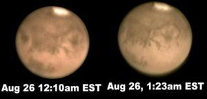 Desde las playas polinesias de Tahití a Australia y Japón, astrónomos profesionales y aficionados comenzaron a dirigir sus telescopios hacia el este para ver de cerca a Marte.