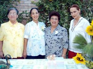 Carmen Goñi de Vargas en la fiesta de canastilla qu ele ofrecieron Gabriela Flores de Madero, Raquel de Goñi y Ernestina Vargas.