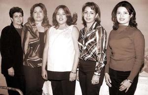 <u> 22 de diciembre de 2003 </u> <p> Verónica Villalobos de Guzmán acompañada de María del Rosario Amezcua de Villalobos, Gabriela Villalobos, Cristina de Villalobos y Katy de Villalobs organizadoras de su fiesta de canastilla.