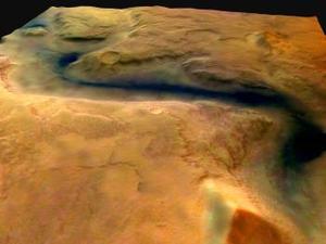 Esa imagen estereoscópica a color, disponible en la página web de la ESA -mars.esa.int-, se tomó el pasado día 14, cuando la Mars Express, que entró en órbita alrededor de Marte el 25 de diciembre, se encontrada a unos 275 kilómetros de la superficie de Marte.