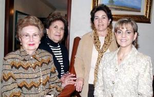 <b><u>13 de marzo </b><u><p> Lucila Hernández, Rocío de Juan Marcos, Alicia de Villarreal y Bertha de Berlanga, integrantes del Club de Damas Sembradoras que festejan sus respectivos cumpleaños en el mes de marzo.