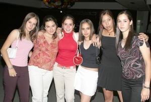 Brenda Lack, Ana Isabel Villarreal, Taly Hernández, Jeny Ganem, Carla Ávalos y Maxen Alba.